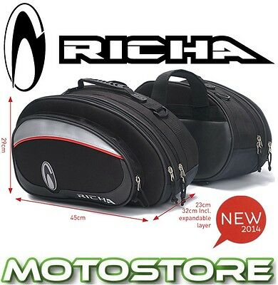Richa Designer Panniers Expanable Motorcycle Black Grey Saddle Bags