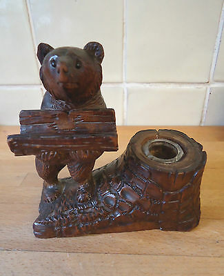 Vintage Black Forest Bear Pen and Ink stand signed 3 inc original glass well