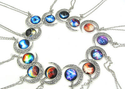 Hot Colorful Galaxy Glass Hollow Moon Shape Pendant Silver Tone Necklace U PICK