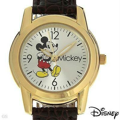New Disney Mickey Mouse Gold Brown Leather Band Classic Watch 40mm MCK622