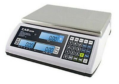 CAS S-2000 JR Series Price Computing Scale LCD Display 60LB, New