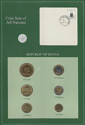 Kenya,Republic,:5,10,50 Cents & 1,5,10 Shillings 1991-1995 Brilliant Unc,& Uncir