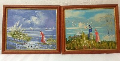 Two 2 100% Oil Paintings Unknown Artist 8 x 10 Framed