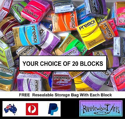 Sculpey PREMO & ACCENTS -  57gm - Your Choice of  20 Blocks + Free Storage Bags