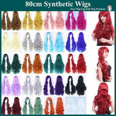 Fashion 80cm Cosplay Costume Long Full Hair Wavy Curly Wig Wigs Women Girls