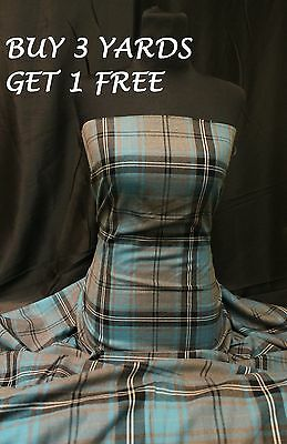 Genuine Turquoise Grey Tartan Woven Poly-Viscose Dress-Making Fabric Material