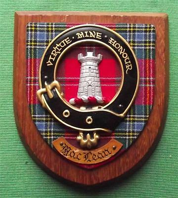 Old Scottish Carved Oak Clan MacLean Coat  Arms Plaque Crest Shield