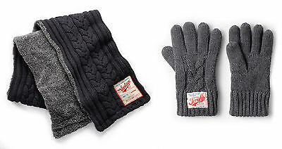 Scruffs Mens Vintage Winter Warm Knitted Thick Scarf & Gloves Set Grey
