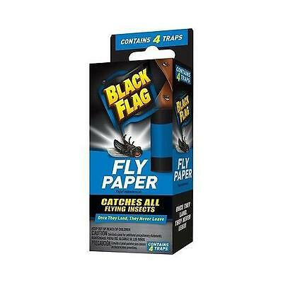 Black Flag Fly Paper, Catches All flying Insects - Contains 4 Traps