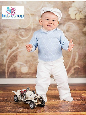 Baby Boy Blue Smart Knitted Top Outfit Christening Formal Christmas Party 0-18M