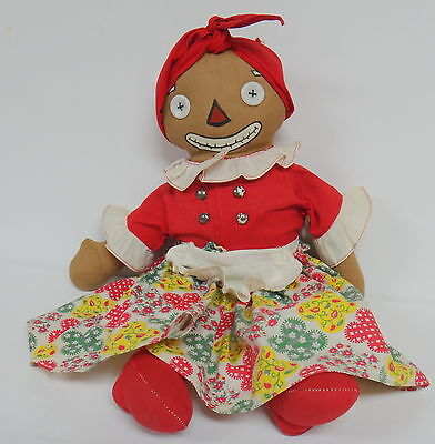 "Georgene Beloved Belindy 15"" Raggedy Ann Mammy 1940's Boxy Feet Vintage Doll"