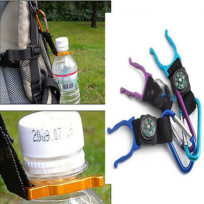 Applied Style Outdoor Carabiner Water Holder Bottle Clip Strap with Compass WFCA