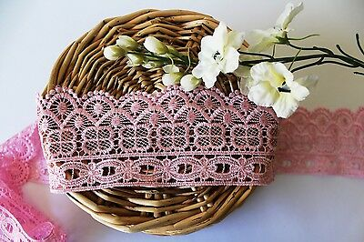1m 7.5cm wide Pink Mesh Embroidered Polyester Trim Lace Sewing Craft Dollmaking