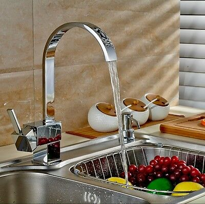 Contemporary Solid Brass Kitchen Sink Faucet - Chrome Finish