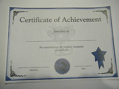 10 x Certificate of Achievement A4
