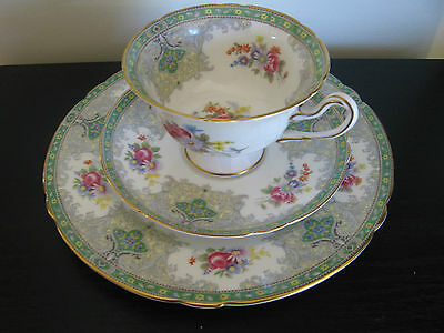 Shelley Green Georgian China Trio Cup & Saucer
