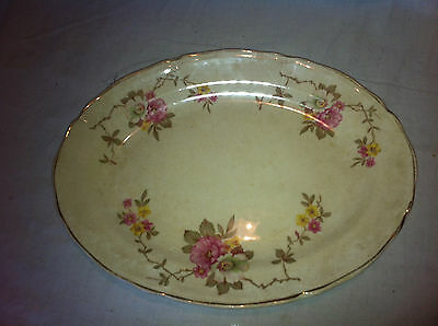 "Edwin Knowles 12"" Oval Turkey Serving Platter CRAZING Pink Floral Gold Trim"
