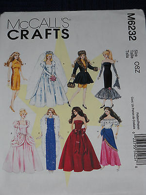 Barbie Doll Clothes 8 Outfits Gowns Bridal Sewing Pattern McCalls 6232