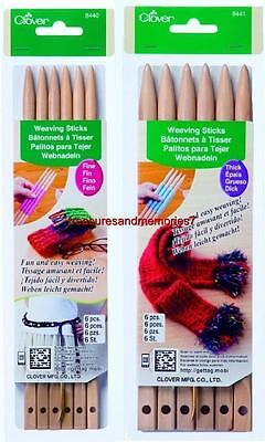 Clover WEAVING STICKS 6 Pieces Plus Tapestry Needle - Choose Your Size or Both!