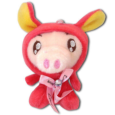 Piggy Pig In Red Rabbit Bunny Costume Soft Plush Stuffed Animal Keychain New