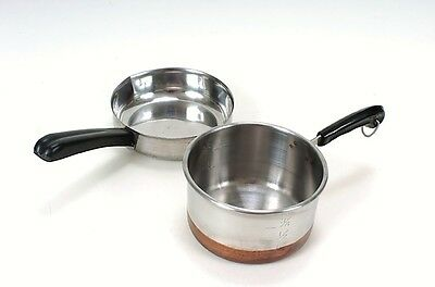 Vintage Stainless Steel Toy Pans set of 2 Copper Botton & Nevco Japan 19350