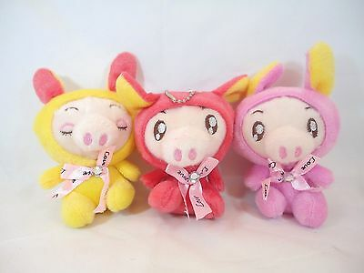 Piggy Pig In Rabbit Bunny Costume Soft Plush Stuffed Animal Keychain Set Of 3