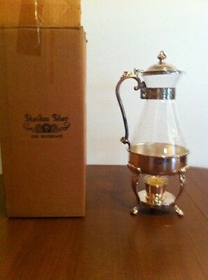 Vintage Sheridan Taunton Silverplate Glass Carafe with Metal Stand & Warmer