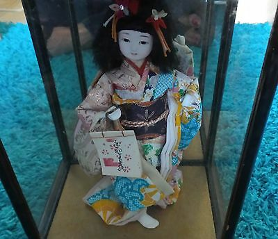 """Vintage Japanese Doll in 10"""" Wooden Case Old Cultural Kimono 8"""" Doll Beautiful"""