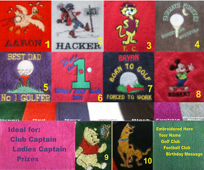 Personalised Embroidered Cartoon Golf Towel Christmas Gift Birthday Fathers Day