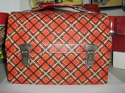 Plaid-Red & White`1960`King Seeley Thermos Co.Dome Style.Metal Lunchbox->Free US