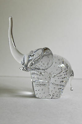 """Murano Glass Elephant Controlled Bubble Clear Excellent Lucky 6"""""""