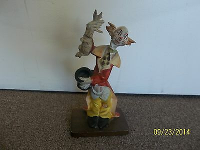 """Rare DAVAR Hand Painted Clown pulling rabbit out of his hat, 9"""" tall, wood base"""