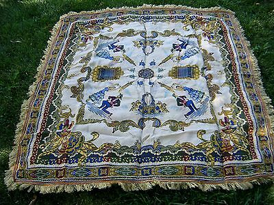 Antique Edwardian Silk Brocade PIANO SCARF Shawl Piano Scarf Tablecloth 1940's