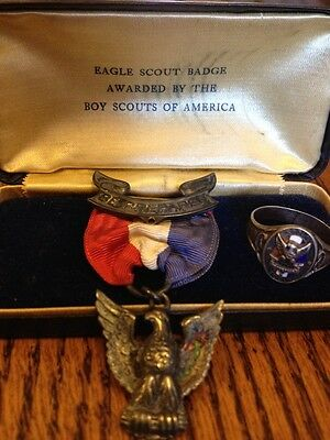Eagle Scout Medal Robbins1930s W/Box & The Knot Ring Sterling Silver