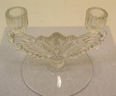 Tiffin Glass Double Candlestick Holder, Wing Design