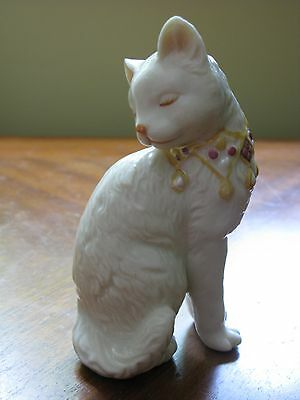 Beautiful White Cat Figurine with Fancy Collar