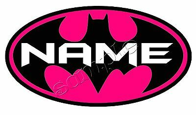 Iron On transfer for light fabric only - pink batman symbol personalised 16x9cm