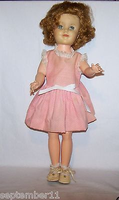 """Vintage Shirley Temple Doll 19"""" Marked A E 195 Original Shoes & Socks Good"""
