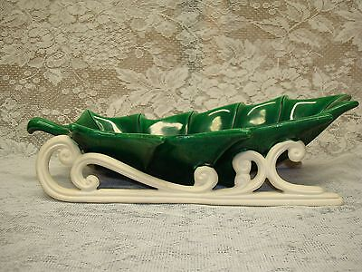 """Ceramic Green Holly Sleigh Bowl / Dish Probably Made in Japan Very Nice 16"""""""