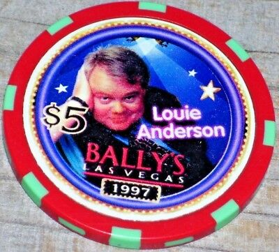 $5 Ltd Louie Anderson 1997 Gaming Chip From Bally's Casino, Las Vegas