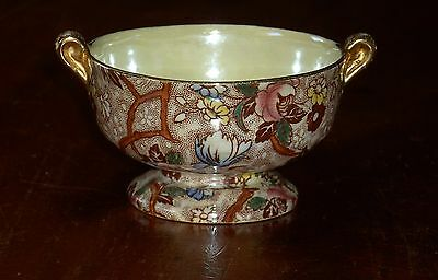 MALING WARE SMALL 2 HANDLED PEDESTAL BOWL CHINTZ CHESTNUT BROWN # 6527 CIRCA 195
