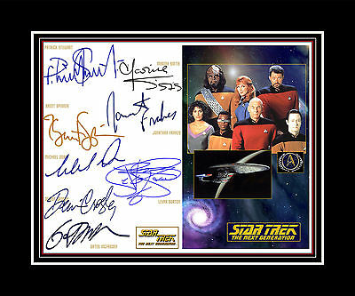 STAR TREK NEXT GENERATION Patrick Stewart, Brent Spinner + 6 Cast print display