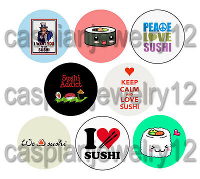 8 piece lot of I LOVE SUSHI pins buttons badges