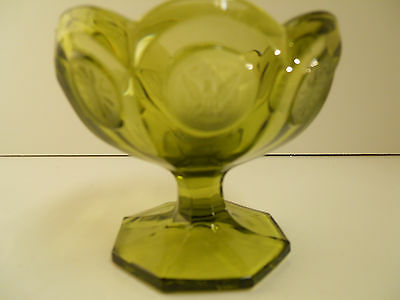 """Vintage Fostoria Coin Pattern Green Glass 4"""" small Footed Dish"""