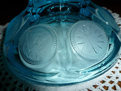 """Vintage Fostoria Coin Dot Blue Compote / Candy Dish LID ONLY - Fits 4.75"""" round"""