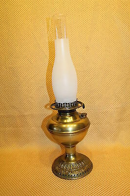 Antique Brass Embossed Base Miller Aladdin Rayo Competitor Oil Lamp