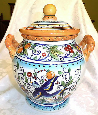 """Dario Farrucci Villa Paradiso Large Hand Painted Pottery Flour Canister - 11"""""""