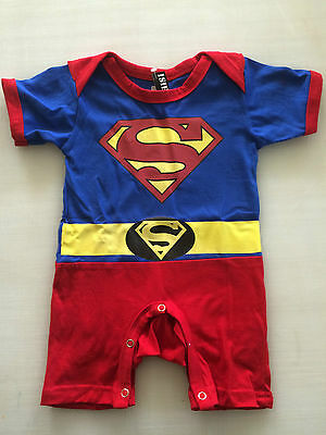 NEW Baby SUPERMAN Costume Onesies Fans Hero Jumper w/ Cape Sizes 0-18 Months Old