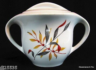Iroquois Fine China Interplay Woodvine Covered Sugar Bowl Gold Rust Gray MCM