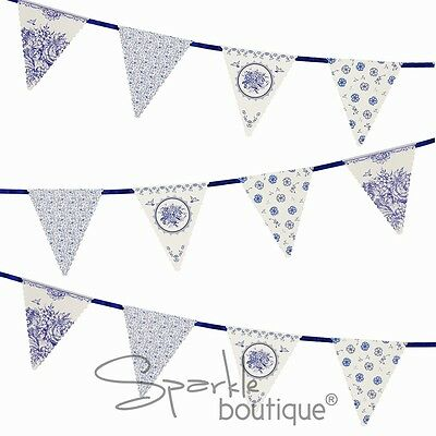 BLUE FLORAL PORCELAIN STYLE BUNTING -Afternoon Tea Party Banner- RANGE IN SHOP